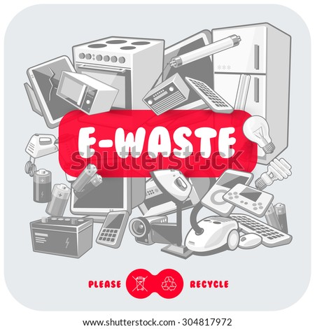 Gray waste electrical and electronic equipment pile. Computer and other obsolete used electronic waste stack as light backround with red title box. Please recycle concept. - stock vector