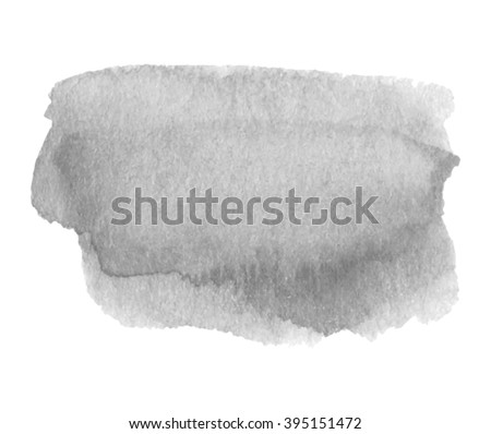 Gray watercolor ink shine hand drawn paper grain texture isolated vector stain on white background for decoration, design, scrapbook, print. Abstract water artistic brush paint dark splash element - stock vector