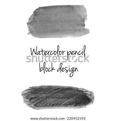 Gray watercolor pencil background template - stock vector