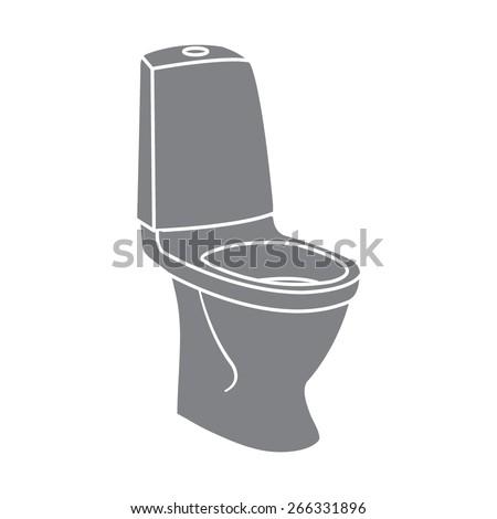 gray WC bathroom toilet - stock vector
