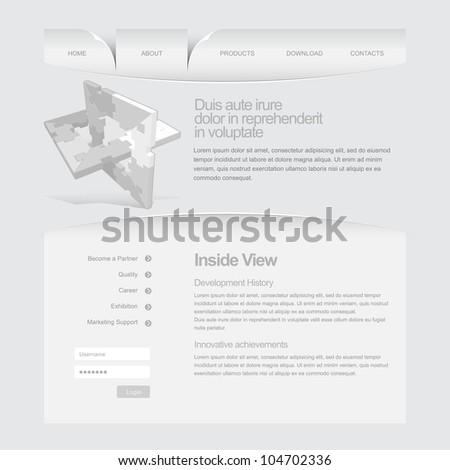 Gray Website Template 960 Grid. - stock vector