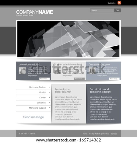 Gray Website Template 960 Grid.  eps 10 - stock vector
