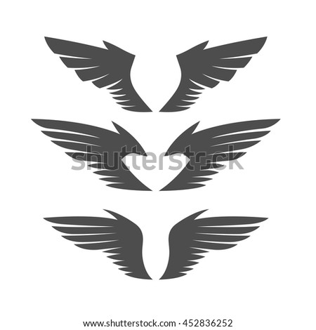 Gray wing silhouettes set. Different forms. Isolated on white background. Design elements. Vector illustration.