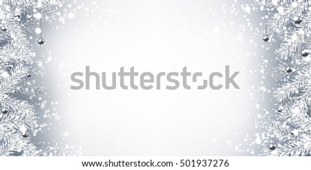 Gray winter background with fir branches. Vector illustration.