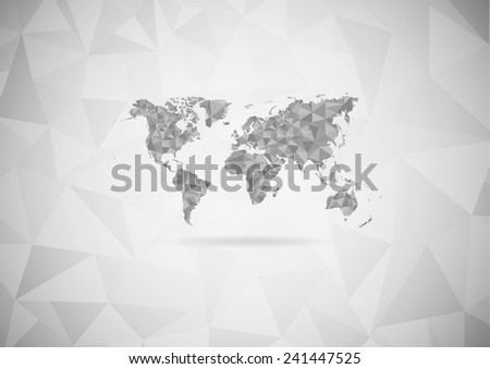 Gray world map lay over triangular stock vector 241447525 shutterstock gray world map lay over with triangular pattern on gray gradient background eps10 art gumiabroncs Image collections