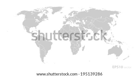 Political world map grey white borders stock vector 274256216 gray world map vector format sciox Gallery