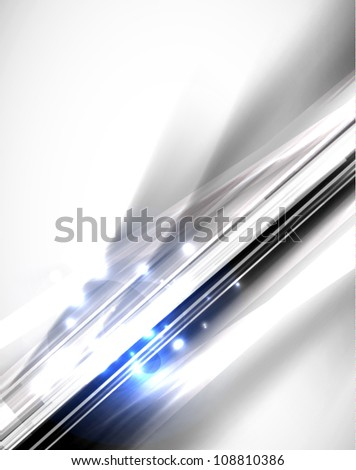 Grayscale abstract geometric line background with blue sparkling - stock vector