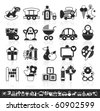grayscale baby icons - stock vector