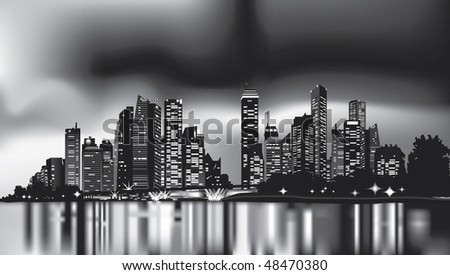grayscale city skyline at night. city lights are reflecting over calm waters - stock vector