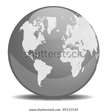 Grayscale Earth Orb - stock vector