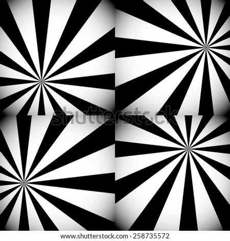 Grayscale / Monochrome Sunburst, Starburst Backgrounds with Radiating Rays or Lights - stock vector