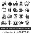 grayscale school icons - stock vector