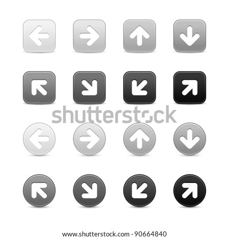 Grayscale web button with white arrow sign. Round and square shapes with shadow on white background. This vector illustration saved in 8 eps - stock vector