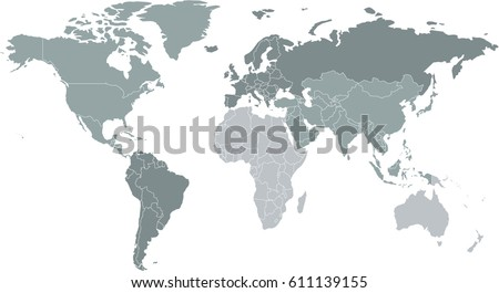 Grayscale world map countries stock vector 611139155 shutterstock grayscale world map with countries gumiabroncs Gallery