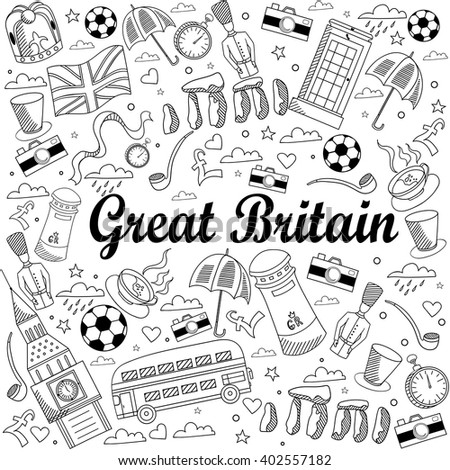 Great Britain coloring book line art design vector illustration. Separate objects. Hand drawn doodle design elements.