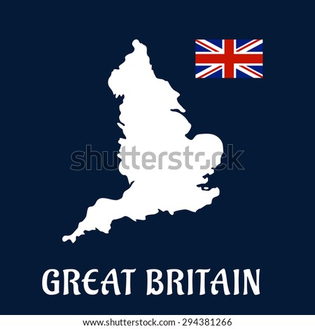 Great Britain country flat icon or emblem with a white silhouette map and Union Jack flag over a blue background and text  Great Britain - stock vector