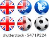 Great Britain Flag Button with Global Soccer Event Original Illustration - stock photo