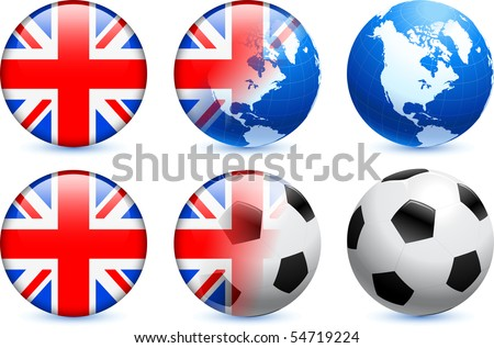 Great Britain Flag Button with Global Soccer Event Original Illustration - stock vector