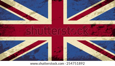 Great Britain flag. Grunge background. Vector illustration - stock vector