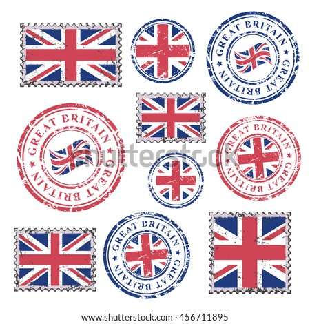 Great Britain Grunge Postal Stamps Postmarks Stock Vector