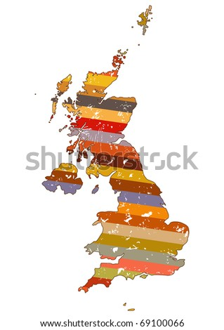Great Britain map in abstract design - stock vector