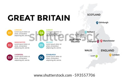 Great Britain Map Infographic Slide Presentation Global Business Marketing Concept Color Country