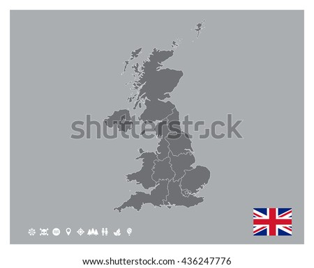 Great Britain Map Template - stock vector