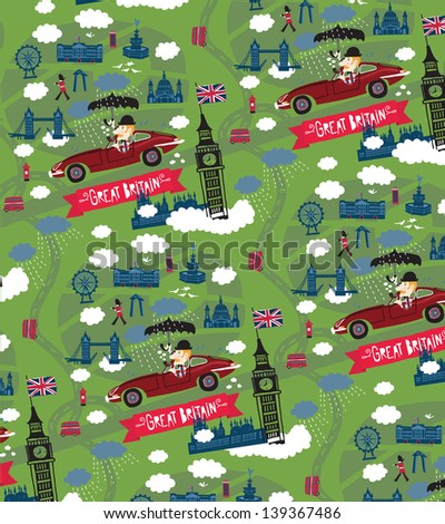 Great Britain pattern - stock vector