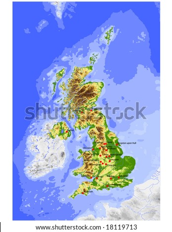 Great Britain. Physical vector map, colored according to elevation, with rivers, ocean depths and selected cities. Surrounding territory greyed out. 33 layers, fully editable. Data source: NASA - stock vector