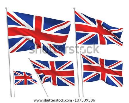 Great Britain (UK) vector flags. A set of 5 wavy 3D flags created using gradient meshes - stock vector