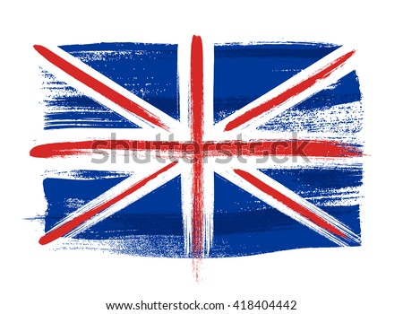 Great Britain United Kingdom UK british colorful brush strokes painted national country flag icon. Painted texture. - stock vector