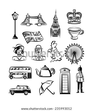 Great Britain vector outline pictogram black icon set - stock vector