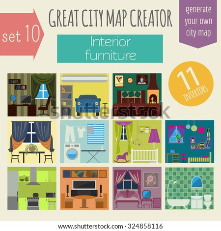 Great city map creator. House constructor. Interiors, furniture. Make your perfect city. Vector illustration - stock vector