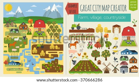 Great city map creator.Seamless pattern map. Village, farm, countryside, agriculture. Make your perfect city. Vector illustration - stock vector