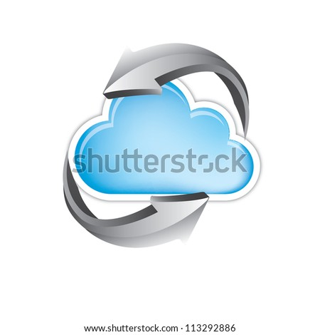 great cloud of information with turning arrows - stock vector