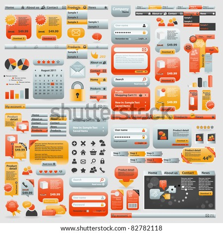 Great collection of website elements - stock vector