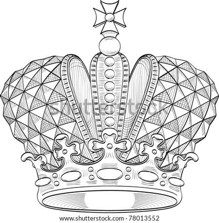 Great crown for heraldry design - stock vector