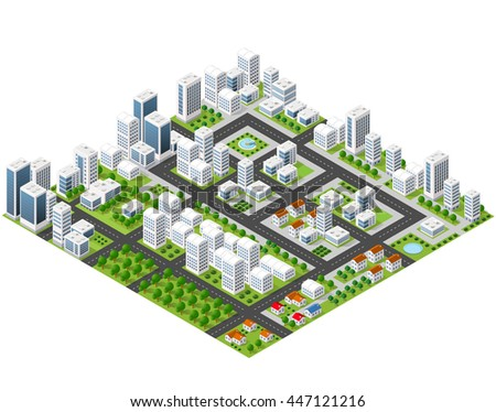 Great 3D metropolis of skyscrapers, houses, gardens and streets in a three-dimensional isometric view