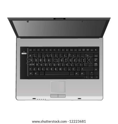 great detail laptop (top view) - stock vector