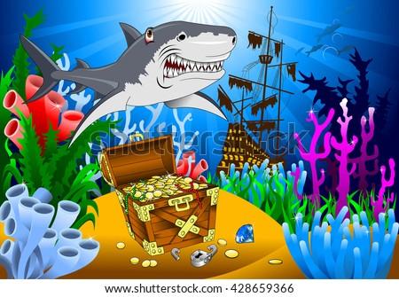 great evil shark pirate guarding a treasure, vector - stock vector