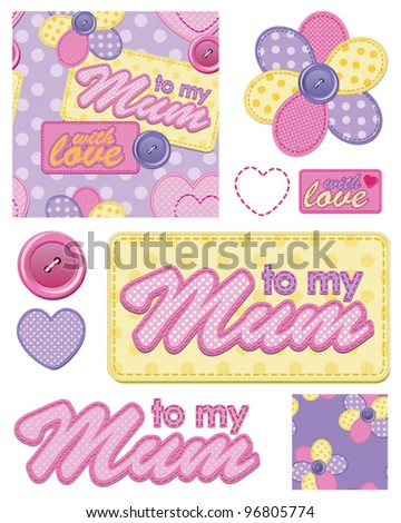 Great for Mothers Day - Seamless Repeat Patterns and Icons for Scrap booking, gift wrap or textile ideas. - stock vector