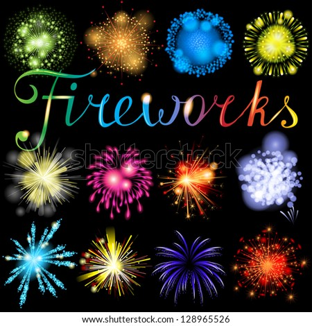 Great highly detailed fireworks set. EPS 10 - stock vector
