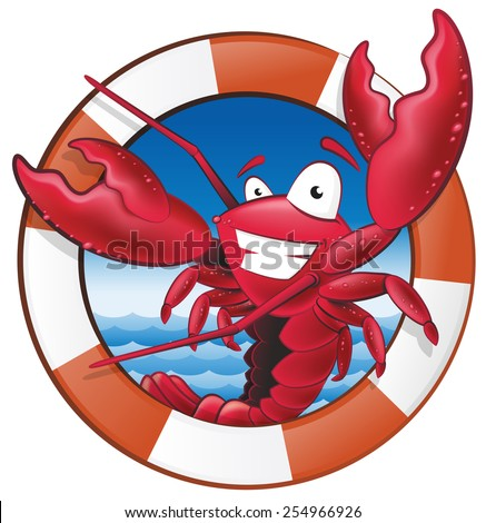 Great illustration of a happy lobster Chef holding a Spatula in Nautical Themed Frame ready to cook some delicious seafood. - stock vector
