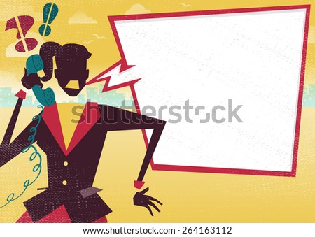 Great illustration of a very Angry Businesswoman with a large blank speech bubble with space to place text for discussion about business plans on a telephone. Great way to get a message over. - stock vector