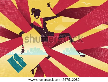 Great illustration of Retro styled Abstract Businesswoman caught up in bureaucratic red tape. - stock vector