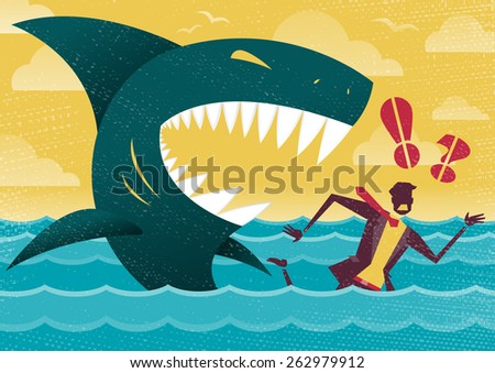 Great illustration of Retro styled Businessman Abandoned and helpless at sea in Shark infested waters and about to be eaten alive by a giant Killer Great White Shark. - stock vector