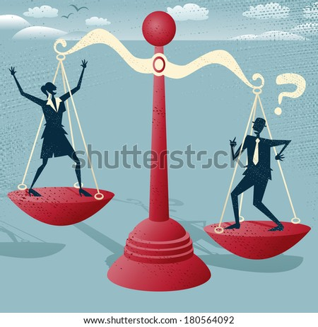 Great illustration of Retro styled Businessman and Businesswoman balancing on a huge set of metaphorical scales.  - stock vector