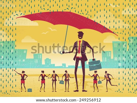 Great illustration of Retro Styled Businessman who is helping his team to stay dry under his huge umbrella.   - stock vector