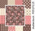 Great kit of vintage seamless patterns with floral ornate in pink and brown colors - stock vector