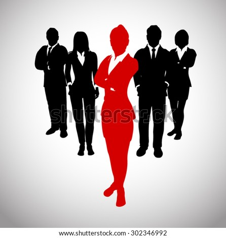 Great Leader before a Team of Successful executives. A team of Successful executives led by a strong and effective leader. - stock vector
